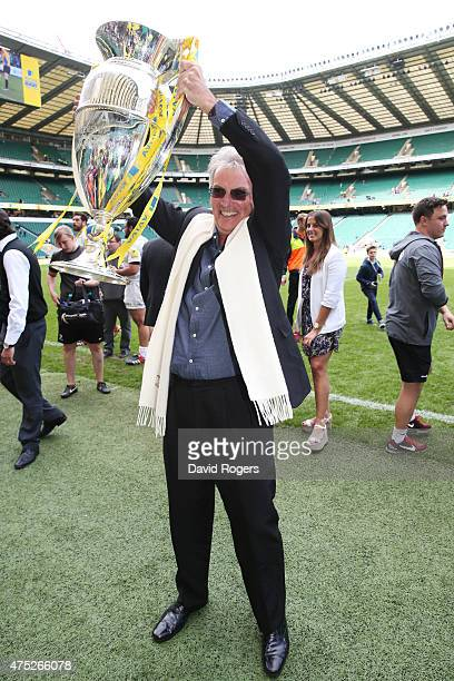 Saracens Chairman Nigel Wray lifts the Aviva Premiership trophy following his team's 2816 victory during the Aviva Premiership Final between Bath...