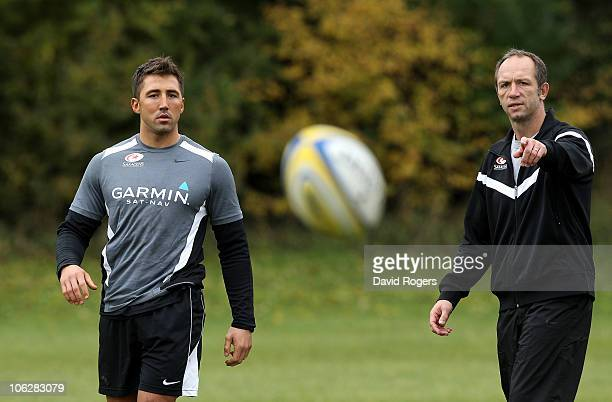 Saracens director of rugby Brendan Venter talks to new signing Gavin Henson during the training session at Saracens training ground on October 28...
