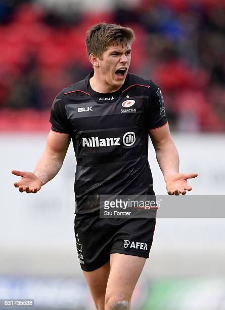 Saracens fly half Owen Farrell reacts during the European Rugby Champions Cup match between Scarlets and Sarcens at Parc y Scarlets on January 15...