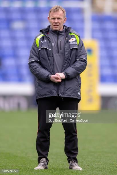 Saracens' Head Coach Mark McCall during the Aviva Premiership match between London Irish and Saracens at Madejski Stadium on April 29 2018 in Reading...