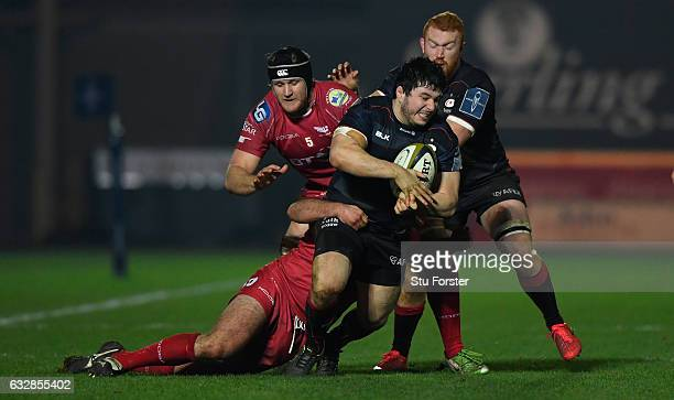 Saracens hooker Scott Spurling makes a break during the Anglo-Welsh Cup match between Scarlets and Saracens at Parc y Scarlets on January 27, 2017 in...