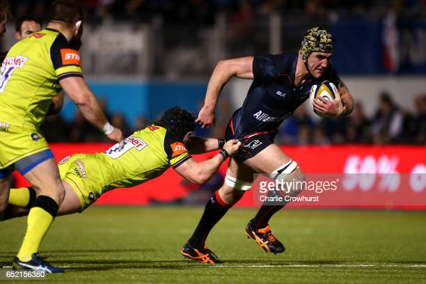 Saracens' Kelly Brown looks to break through the Leicester defensive line during the AngloWelsh Cup Semi Final between Saracens and Leicester Tigers...