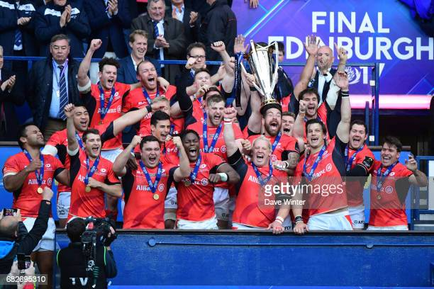Saracens lift the trophy after they win the European Champions Cup Final match between Clermont Auvergne and Saracens at Murrayfield Stadium on May...