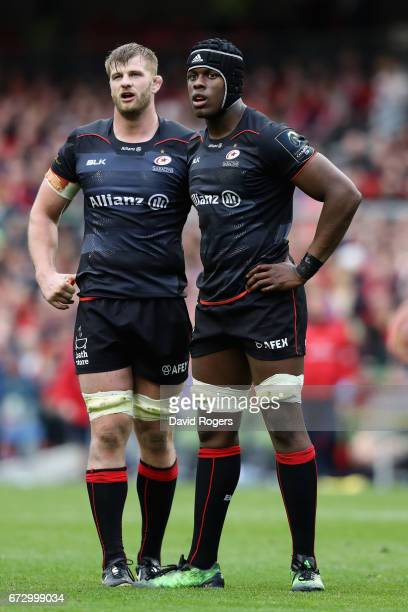 Saracens locks Maro Itoje and George Kruis look on during the European Rugby Champions Cup semi final match between Munster and Saracens at the Aviva...