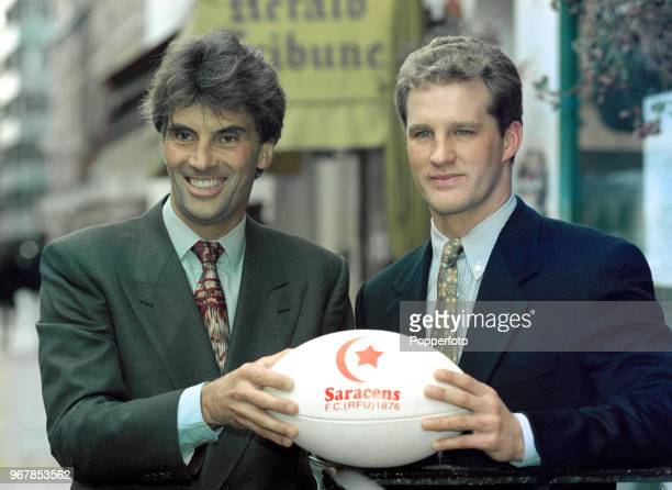 Saracens owner and chairman Nigel Wray with new signing Michael Lynagh of Australia in London England circa 1996