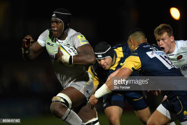 Saracens player Maro Itoje in action during the Aviva Premiership match between Worcester Warriors and Saracens at Sixways Stadium on September 29...