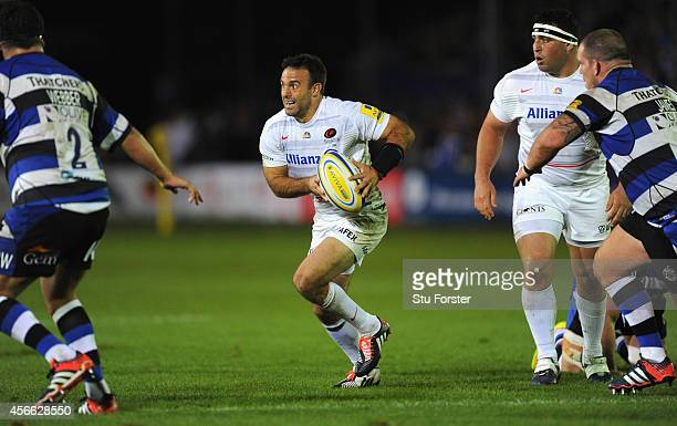 Saracens player Neil De Kock in action during the Aviva Premiership match between Bath Rugby and Saracens at Recreation Ground on October 3 2014 in...