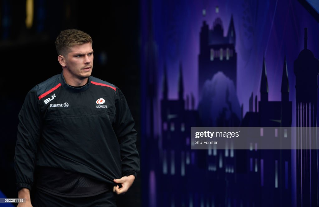 Saracens player Owen Farrell makes his way onto the field for the captains run before the 2017 European Rugby Champions Cup Final at Murrayfield Stadium on May 12, 2017 in Edinburgh, Scotland.