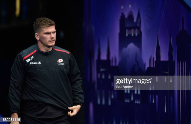 Saracens player Owen Farrell makes his way onto the field for the captains run before the 2017 European Rugby Champions Cup Final at Murrayfield...