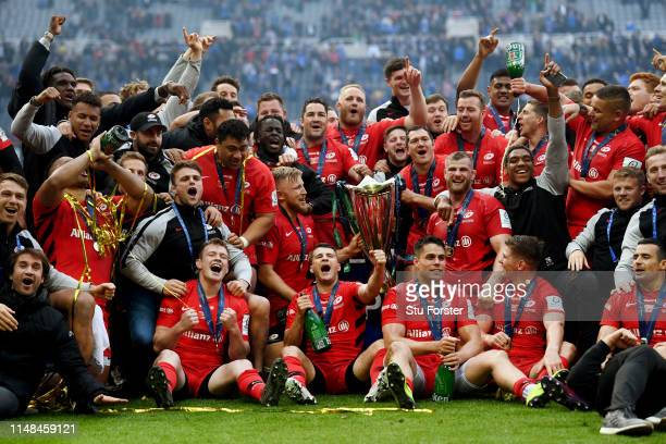Saracens players celebrate following the Champions Cup Final match between Saracens and Leinster at St. James Park on May 11, 2019 in Newcastle upon...