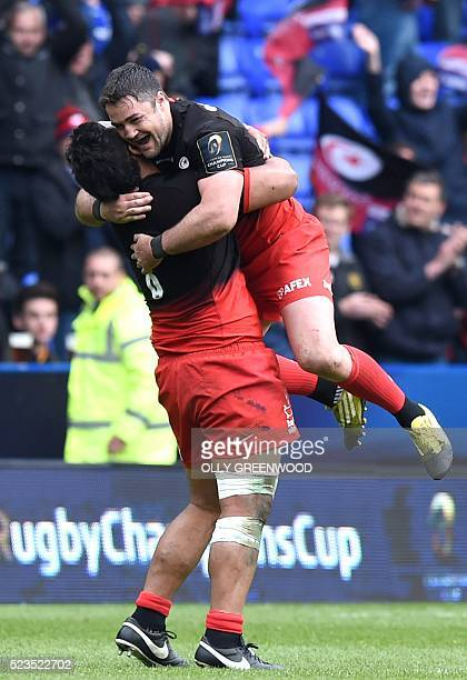 Saracens' prop Billy Vunipola celebrates victory with Saracens' centre Brad Barritt after the European Rugby Champions Cup semifinal rugby union...