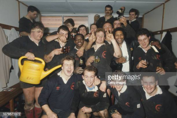 Saracens Rugby team celebrate promotion in their changing room to Courage League National Division One after their National League Division Two match...