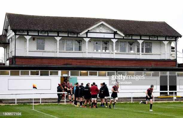 Saracens take to the field during the Greene King IPA Championship match between Richmond and Saracens at Richmond Athletic Ground on March 28, 2021...
