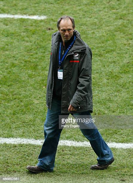 Saracens technical director Brendan Venter looks on following the Heineken Cup SemiFinal match between Saracens and ASM Clermont Auvergne at...