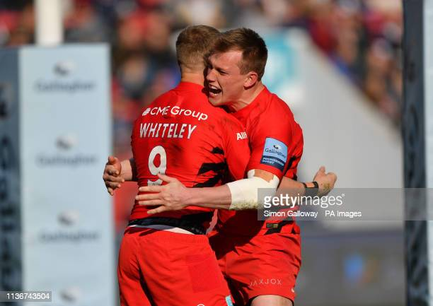 Saracens Tom Whiteley celebrates scoring the first try of the game during the Gallagher Premiership match at Ashton Gate, Bristol.