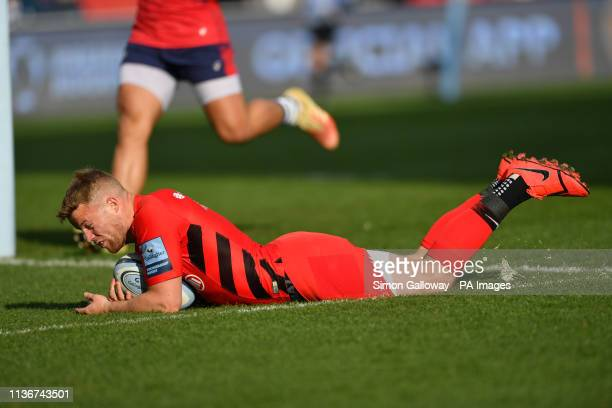 Saracens Tom Whiteley scores the first try of the game during the Gallagher Premiership match at Ashton Gate, Bristol.