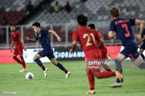 Sarach Yooyen of Thailand's in action during FIFA World Cup 2022 qualifying match between Indonesia and Thailand at the Gelora Bung Karno stadium in...