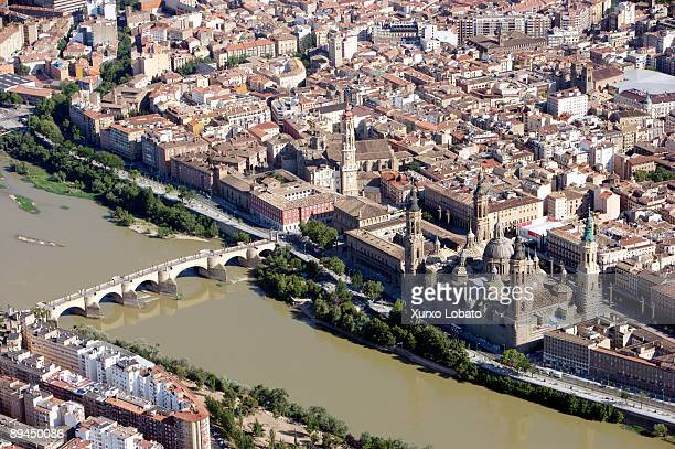 Saragossa River Ebro Basilica El Pilar and Puente de Piedra Aerial view