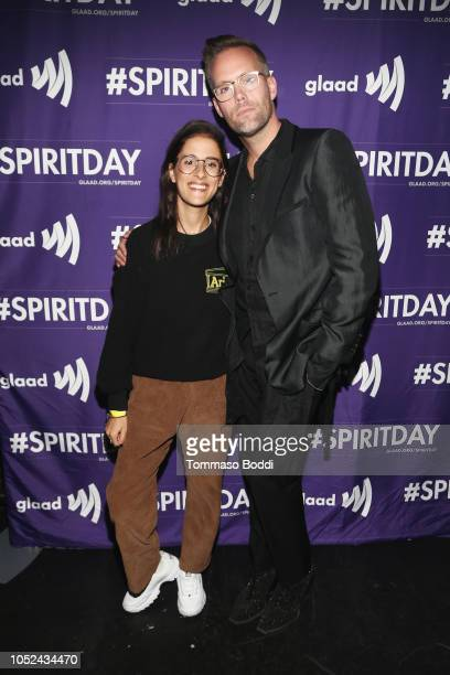 Sarah Aarons and Justin Tranter attends Justin Tranter And GLAAD Present 'BEYOND' Spirit Day Concert at The Sayers Club on October 17 2018 in...