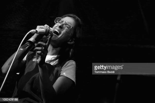 Sarah Aarons performs onstage at Justin Tranter And GLAAD Present 'BEYOND' Spirit Day Concert at The Sayers Club on October 17 2018 in Hollywood...