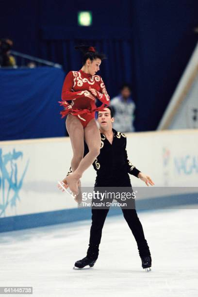 Sarah Abitbol and Stephane Bernadis of France compete in the Figure Skating Pair Free Program during day three of the Nagano Winter Olympic Games at...