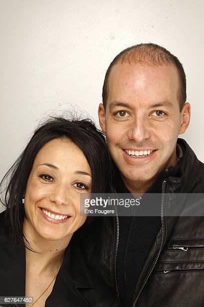 Sarah Abitbol and Stephane Bernadis on the set of TV show Les Grands du Rire