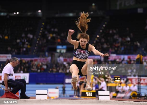 Sarah Abrams jumps during the womens long jump during Day Two of the SPAR British Athletics Indoor Championships at Arena Birmingham on February 10...