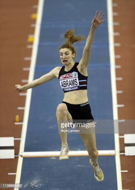 Sarah Abrams jumps during the Women's Long Jump Final during Day Two of the SPAR British Athletics Indoor Championships at Arena Birmingham on...
