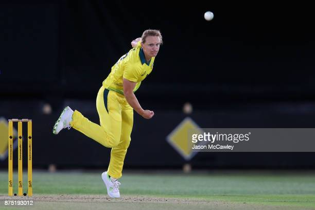 Sarah Aley of Australia bowls during the first Women's Twenty20 match between Australia and England at North Sydney Oval on November 17 2017 in...