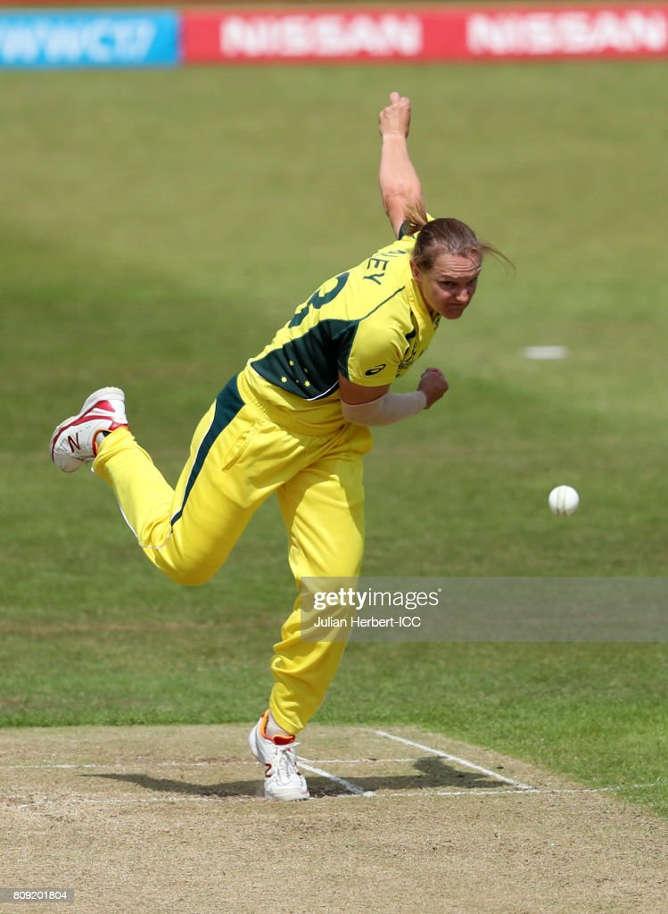Sarah Aley of Australia bowls during The ICC Women's World Cup 2017 match between Pakistan and Australia at Grace Road on July 5, 2017 in Leicester, England.