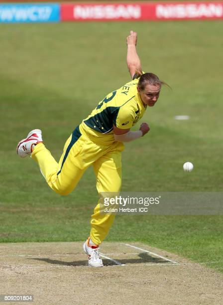 Sarah Aley of Australia bowls during The ICC Women's World Cup 2017 match between Pakistan and Australia at Grace Road on July 5 2017 in Leicester...
