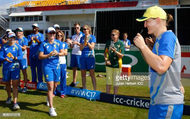Sarah Aley of Australia reacts after being presented with her cap before The ICC Women's World Cup 2017 match between Pakistan and Australia at Grace...