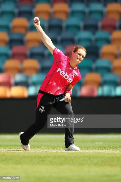 Sarah Aley of the Sixers bowls during the Women's Big Bash League match between the Hobart Hurricanes and the Sydney Sixers at Blundstone Arena on...