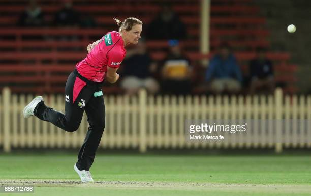 Sarah Aley of the Sixers bowls during the Women's Big Bash League WBBL match between the Sydney Sixers and the Melbourne Stars at North Sydney Oval...
