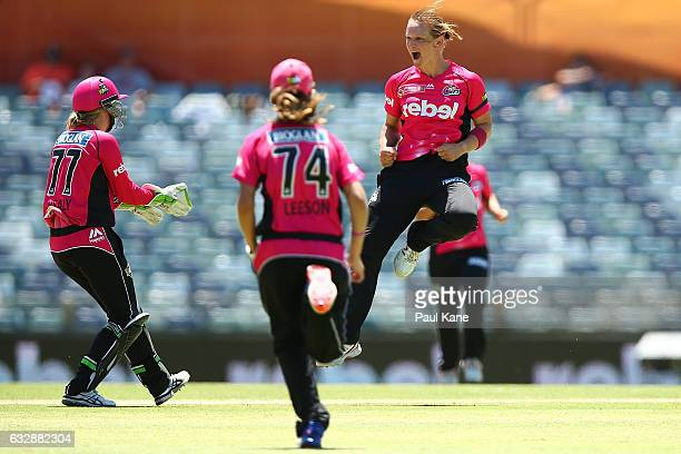 Sarah Aley of the Sixers celebrates the wicket of Anya Shrubsole of the Scorchers during the Women's Big Bash League match between the Perth...