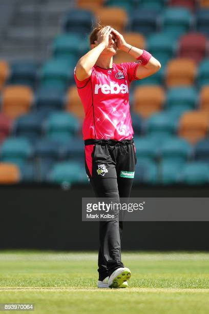 Sarah Aley of the Sixers shows her frustration during the Women's Big Bash League match between the Hobart Hurricanes and the Sydney Sixers at...