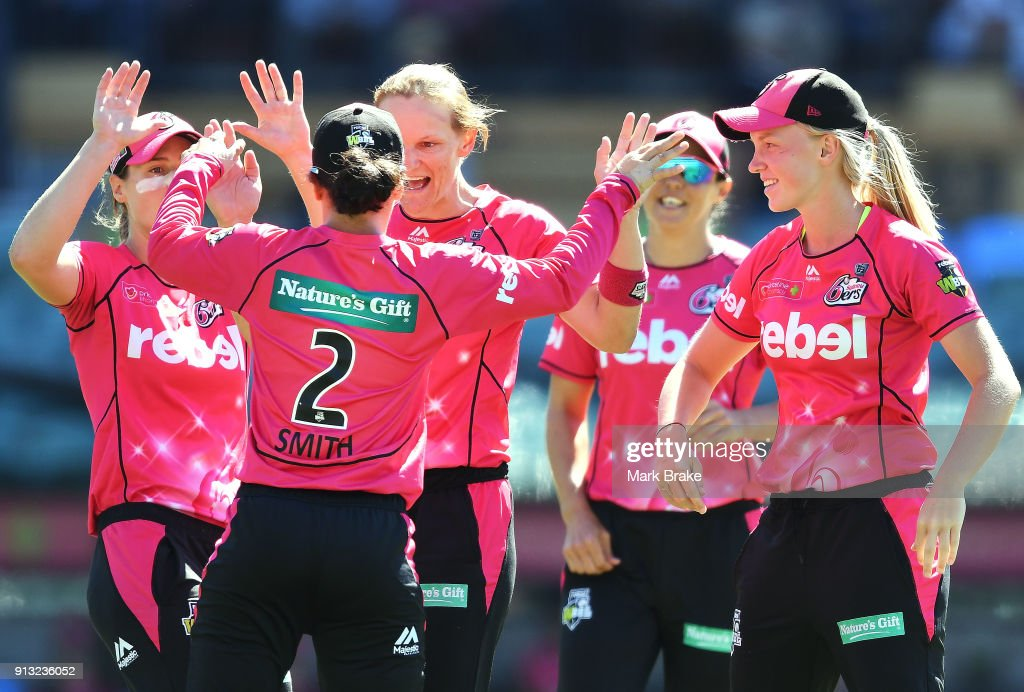 Sarah Aley of the Sydney Sixers celebrates after taking the wicket of Suzie Bates of the Adelaide Strikers during the Women's Big Bash League match between the Adelaide Strikers and the Sydney Sixers at Adelaide Oval on February 2, 2018 in Adelaide, Australia.