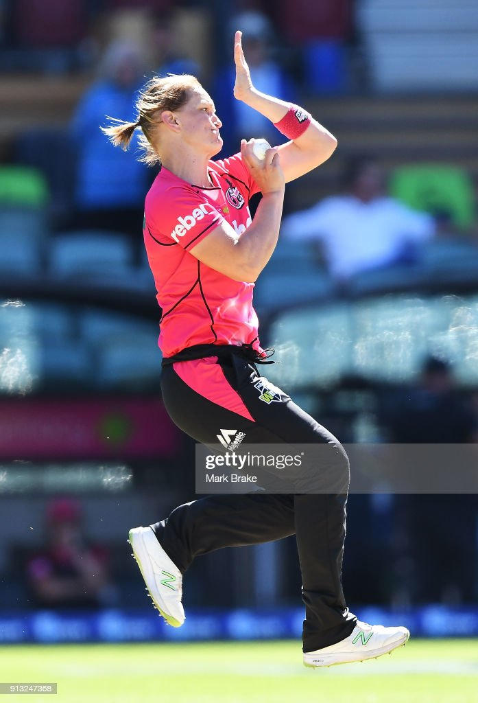 Sarah Aley of the Sydney Sixers during the Women's Big Bash League match between the Adelaide Strikers and the Sydney Sixers at Adelaide Oval on February 2, 2018 in Adelaide, Australia.