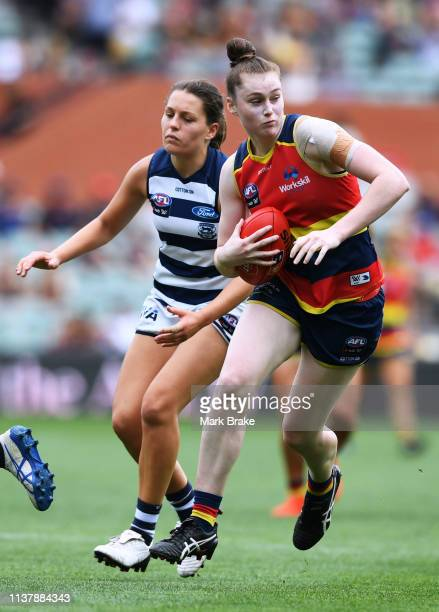 Sarah Allan of the Adelaide Crows during the AFLW Preliminary Final match between the Adelaide Crows and thew Geelong Cats at Adelaide Oval on March...