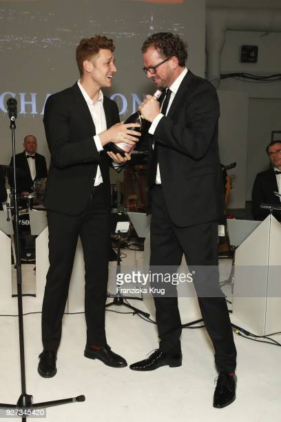 Sarah Alles Daniel Donskoy and Franz Dinda during the Moet Academy Night on March 4 2018 in Berlin Germany