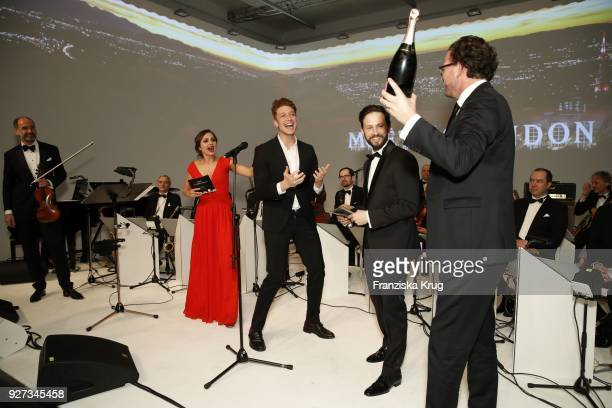 Sarah Alles Daniel Donskoy Franz Dinda and Jens Gardthausen during the Moet Academy Night on March 4 2018 in Berlin Germany