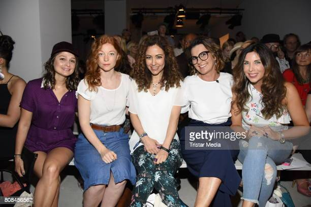 Sarah Alles, Marleen Lohse, Anastasia Zampounidis, Astrid Rudolph and Alexandra Polzin attend the Lena Hoschek show during the Mercedes-Benz Fashion...