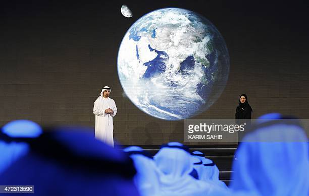 Sarah Amiri , deputy project manager of the United Arab Emirates Mars Mission, speaks during a ceremony to unveil the mission on May 6, 2015 in...