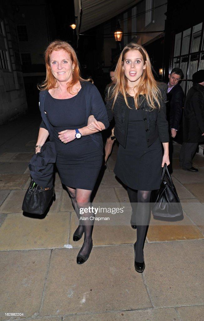 Sarah Ferguson And Princess Beatrice Sightings In London - February 28, 2013