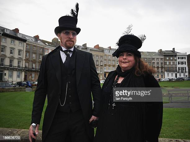 Sarah and Malcolm Simpson from York dress in Victorian style as they visit the Goth weekend on November 2 2013 in Whitby England The Whitby Gothic...