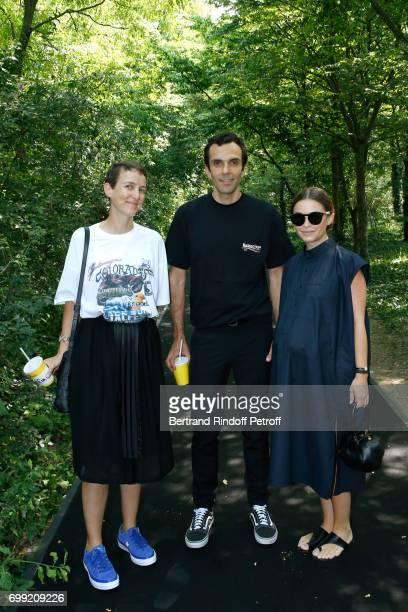 Sarah Andelman of Colette CEO Balenciaga Cedric Charbit and Miroslava Duma attend the Balenciaga Menswear Spring/Summer 2018 show as part of Paris...