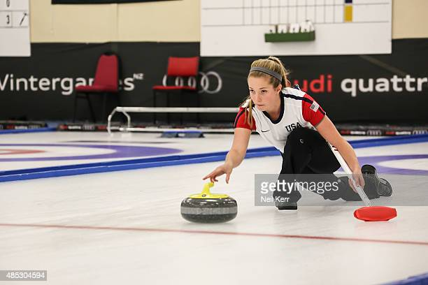 Sarah Anderson of USA delivers his shot against Finland in the Curling Mixed Doubles Semi Finals during the Winter Games NZ at Naseby Curling Rink on...