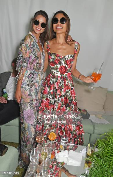 Sarah Ann Macklin and Emma McQuiston Viscountess Weymouth attends the Cartier Queen's Cup Polo final at Guards Polo Club on June 18 2017 in Egham...