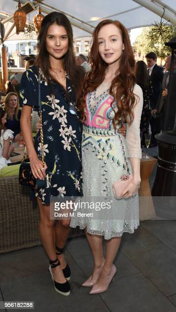 Sarah Ann Macklin and Olivia Grant attend the Royal Ascot Village Enclosure launch party at The Ham Yard Hotel on May 8 2018 in London England