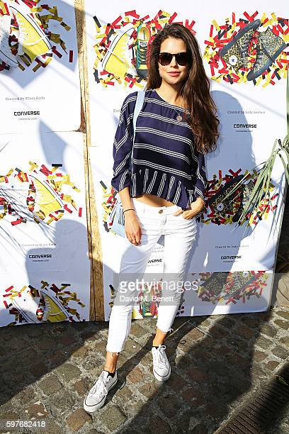 Sarah Ann Macklin attends the Converse party at Notting Hill Carnival to celebrate the new carnival inspired Converse Custom Chuck Taylor All Stars...